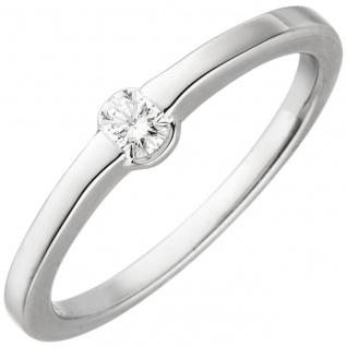Damen Ring 585 Gold Weißgold 1 Diamant Brillant 0, 15ct. Diamantring