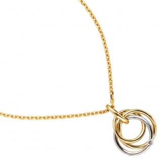 Anhänger 585 Gold Gelbgold Weißgold bicolor 1 Diamant Goldanhänger verschlungen