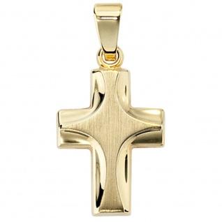 Anhänger Kreuz 585 Gold Gelbgold mattiert Kreuzanhänger Goldkreuz