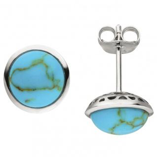 Ohrstecker 925 Sterling Silber 2 Türkis-Imitationen Ohrringe