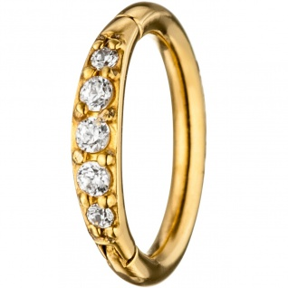 Segmentring Edelstahl gold farben beschichtet mit SWAROVSKI® ELEMENTS Scharnier