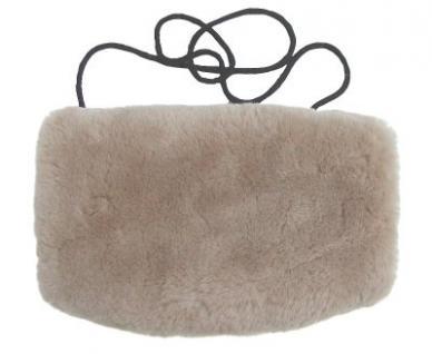 warmer Lammfell Pelzmuff taupe mit Reißverschlusstasche waschbar, geschorenes Lammfell, ca. 29, 5x19 cm