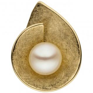 Anhänger 585 Gold Gelbgold eismatt 1 Süßwasser Perle Perlenanhänger