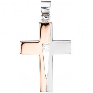 Anhänger Kreuz 925 Silber rotgold vergoldet bicolor 1 Zirkonia Kreuzanhänger