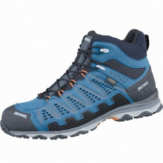 Meindl X-SO 70 Mid GTX Herren Velour Mesh Trekking Schuhe blau, Surround-Soft-Fußbett, 4437128/8.0