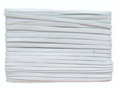 weiches Leder Flechtband Ziegenleder auf Karte weiß, Länge 10 m, Breite ca. 2, 5 mm, Stärke ca. 1, 0 mm