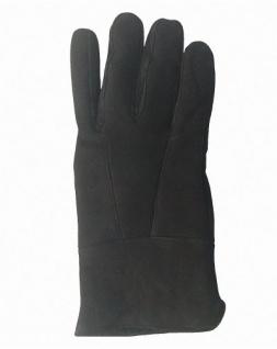 Damen Velourleder Lammfell Fingerhandschuhe aus Fellstücken schwarz, Damen Fell Handschuhe, Größe 7, 5