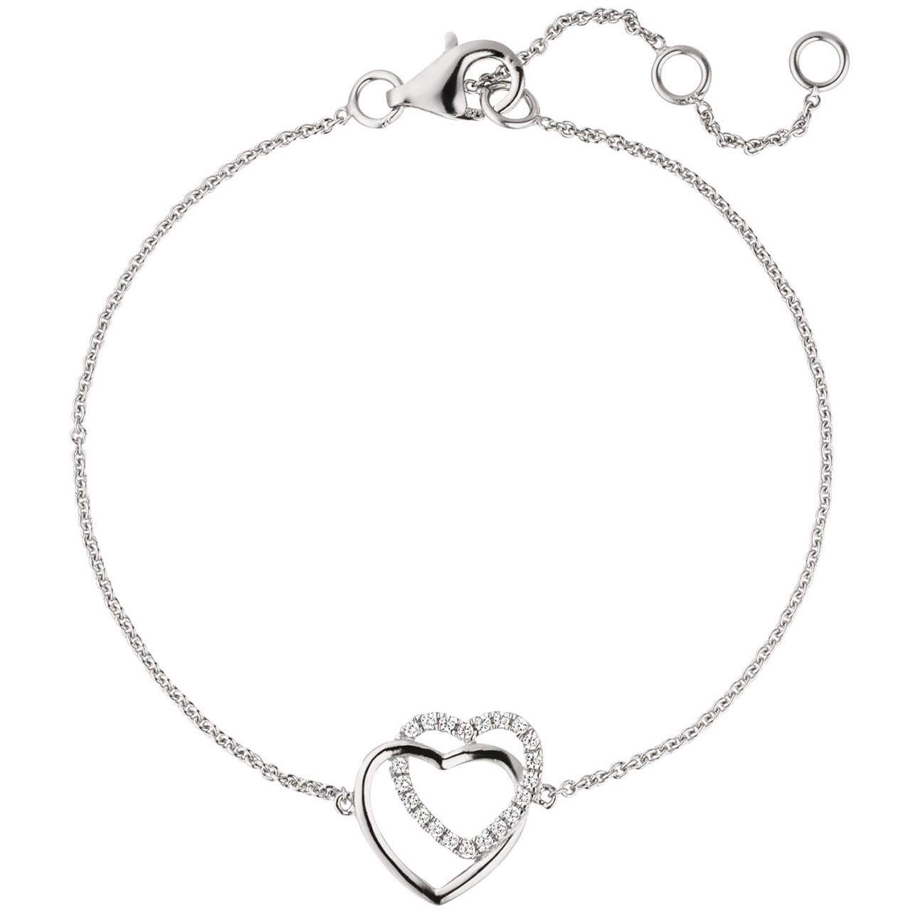 Armband Herz 925 Sterling Silber 2 Zirkonia 22 cm Silberarmband Herzarmband