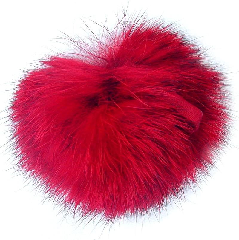 10 cm Ensuite Echt Fuchsfell Fellbommeln rot mit Band oder Schlaufe /Ø ca
