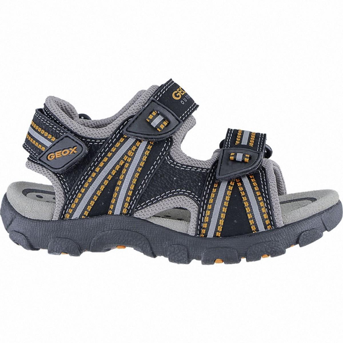 Geox coole Jungen Synthetik Sandalen black, weiches Geox Leder Fußbett, Antis
