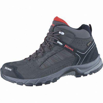 Meindl Journey Mid GTX Herren Leder Mesh Outdoor Schuhe anthrazit, Air-Active-Wellness-Sport-Fußbett, 4438167 anthrazit rot