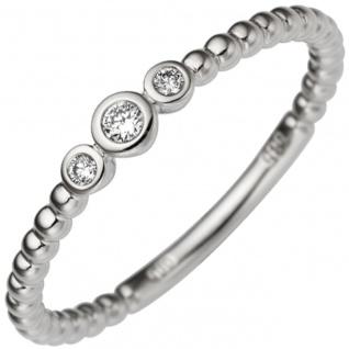 Damen Ring zart 585 Gold Weißgold 3 Diamanten Brillanten 0, 06ct. Weißgoldring