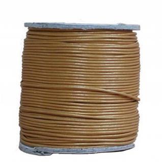 endlos Ziegenleder Rundlederriemen Rolle gold metallic, für Lederschmuck, Lederarmbänder, Länge 100 m, Ø 1 mm