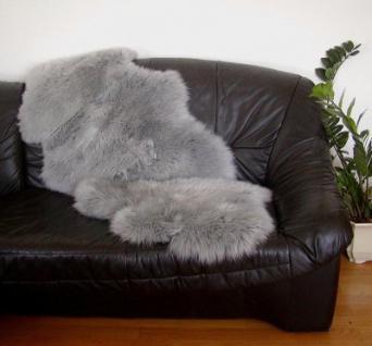 australische Doppel Lammfelle aus 1, 5 Fellen grau gefärbt, vollwollig, 30 Grad waschbar, ca. 140x68 cm