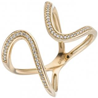 Damen Ring 585 Gold Gelbgold 55 Diamanten Brillanten Goldring Diamantring