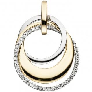 Anhänger 585 Gold Gelbgold Weißgold bicolor 42 Diamanten Brillanten 0, 21ct.