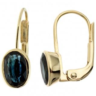 Boutons oval 333 Gold Gelbgold 2 Safire blau Ohrringe Ohrhänger Goldohrringe