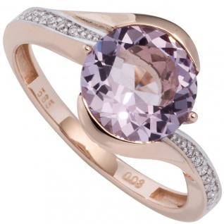 Damen Ring 585 Rotgold 16 Diamanten Brillanten 1 Amethyst lila violett