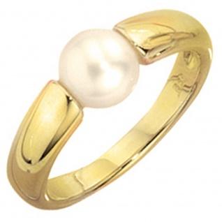 Damen Ring 333 Gold Gelbgold 1 Süßwasser Perle Goldring Perlenring