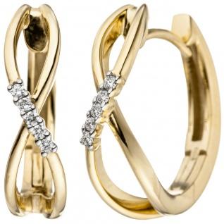 Creolen 585 Gold Gelbgold 10 Diamanten Brillanten 0, 06ct. Ohrringe Goldohrringe