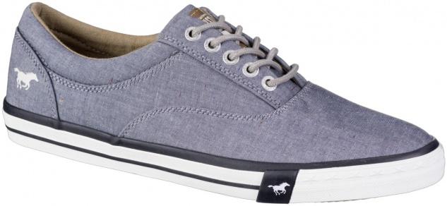 MUSTANG Herren Canvas Sneakers blau, Textilfutter, weiche Decksohle
