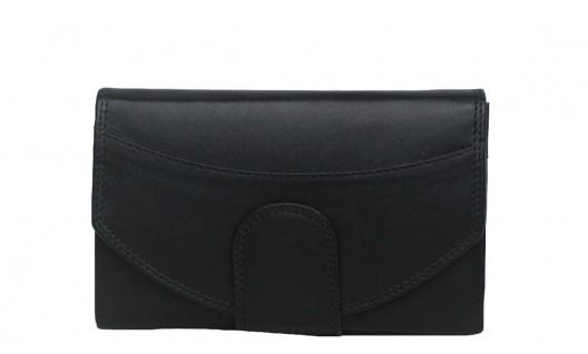 Bianci Leder Damenbörse schwarz, 2 x RV-Innenfach, 4 x Ausweis, 5xCC, 3-gt. K...
