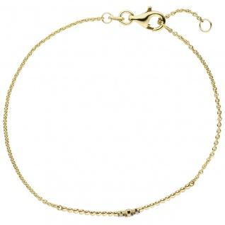 Armband 585 Gold Gelbgold 3 Diamanten Brillanten 18 cm Goldarmband