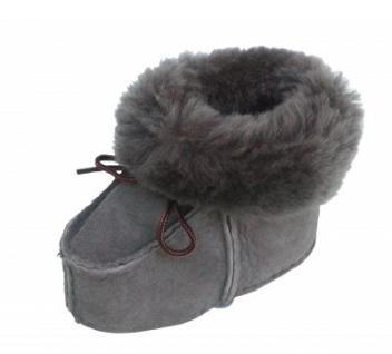 warme Lammfell Babyschuhe grau mit Fellkragen und Kordel, Gerbung ohne schädliche Stoffe, Gr. 23-24