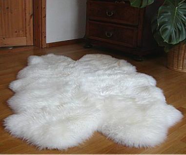 Lammfellteppiche weiß, ca. 1, 30 m lang, 90-100 cm breit, ökologische Gerbung mit Alaun, pflanzlich gebleicht
