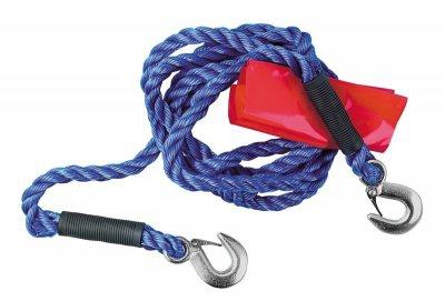LAMPA Abschleppseil mit Sicherheitshaken bis 5000 kg, 4 m lang, ø 18 mm, mit roter Warnflagge