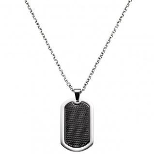 Collier Kette mit Anhänger Edelstahl schwarz beschichtet 55 cm Halskette