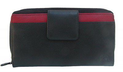 Dolphin minimalistische Damen Leder Reißverschluss Börse schwarz/rot, 12xCC, 3 Scheinfächer, ca. 19x10 cm