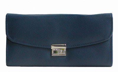 große Leder Kellner Geldbörse dunkelblau, 7 Fächer + Kleingeldfach, Öse, 18 cm breit, 9-11 cm hoch