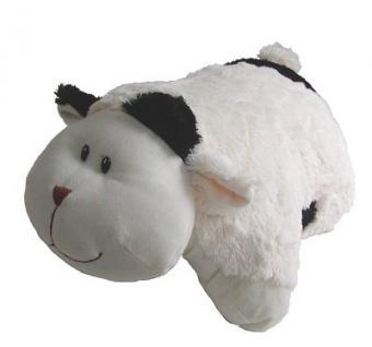 Stofftier Kuh, Plüschtier Kuh aus Mikrofaser, als Kissen klappbar, voll waschbar, 45 cm lang