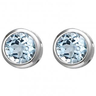 Damen Blautopas Ohrschmuck, Ohrstecker 925er Silber, Durchmesser ca. 6, 2 mm, ...