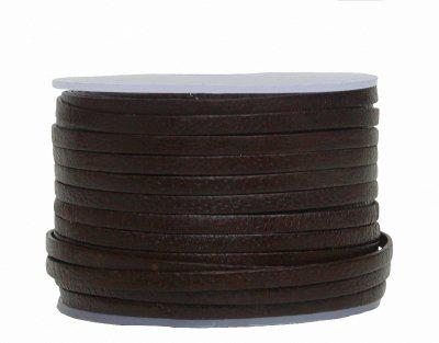 Ziegenleder Lederriemen, Lederband flach dunkelbraun, Länge 25 m, Breite ca. 3 mm, Stärke ca. 1, 0 mm