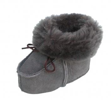 warme Lammfell Babyschuhe grau mit Fellkragen und Kordel, Gerbung ohne schädl...