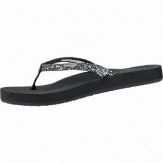 Reef Star Cusion modische Damen Synthetik Pantoletten schwarz mit Glitzer, super weiches Fußbett, 1440109/40