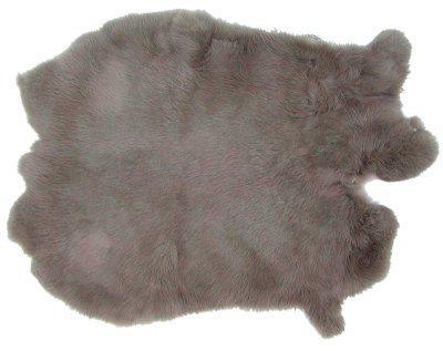 Kaninchenfelle grau gefärbt, ca. 30x30 cm, Felle vom Kaninchen mit seidigem Haar