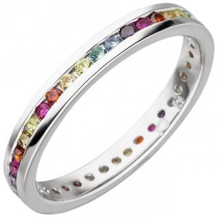 Damen Ring 925 Sterling Silber mit bunten Zirkonia rundum