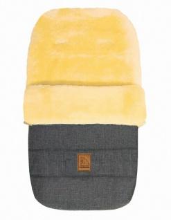 warmer Baby Winter Lammfell Fußsack grau meliert waschbar, für Kinderwagen, B...