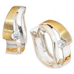 Creolen 925 Sterling Silber bicolor vergoldet mattiert 2 Zirkonia Ohrringe