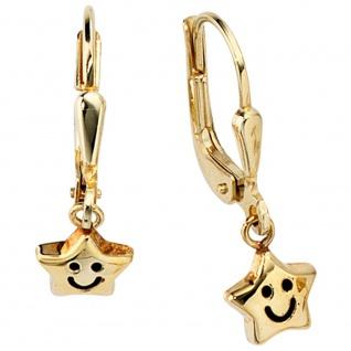 Kinder Boutons Stern 333 Gold Gelbgold Ohrringe Ohrhänger Kinderohrringe