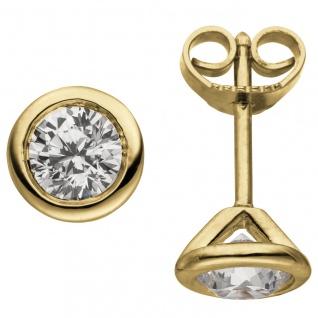 Ohrstecker rund 585 Gold Gelbgold 2 Diamanten Brillanten 1, 00 ct. Ohrringe
