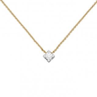 Collier 750 Gold Gelbgold Weißgold bicolor 1 Diamant Brillant 45 cm Goldkette