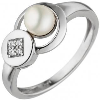 Damen Ring 925 Sterling Silber 1 Süßwasser Perle 4 Zirkonia Silberring