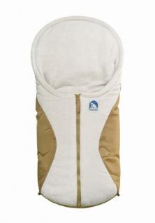 molliger Baby Winter Fleece Fußsack beige, für Tragschalen, Autositze, ca. 79x39 cm, warm wattiert