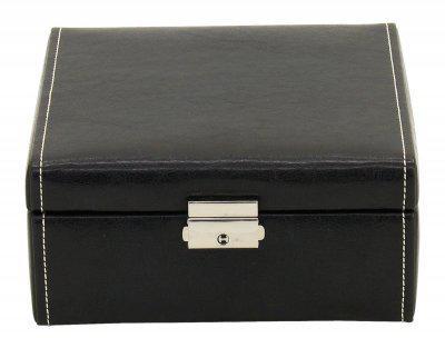 Friedrich Lederwaren Kunstleder Uhrenkasten mit Schloss für 6 Uhren schwarz, Serie Bond, ca. 18x17x8, 5 cm