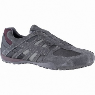 Geox sportliche Herren Leder Sneakers anthracite, Meshfutter, chromfrei, herausnehmbare Einlegesohle, 2041107/44