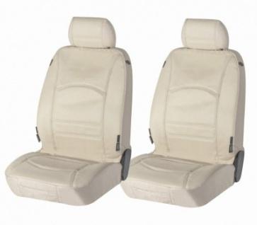 2 Stück Universal Echt Leder Auto Sitzbezüge beige für fast alle PKW, für Fahrersitz und Beifahrersitz - Vorschau